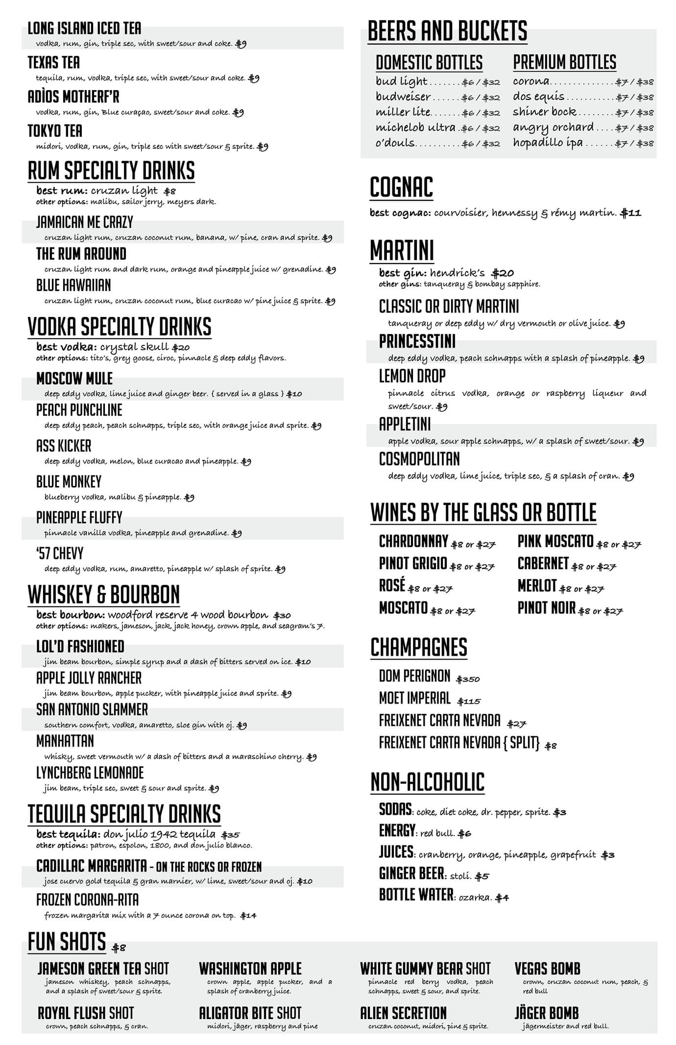 LOL San Antonio Drink Menu