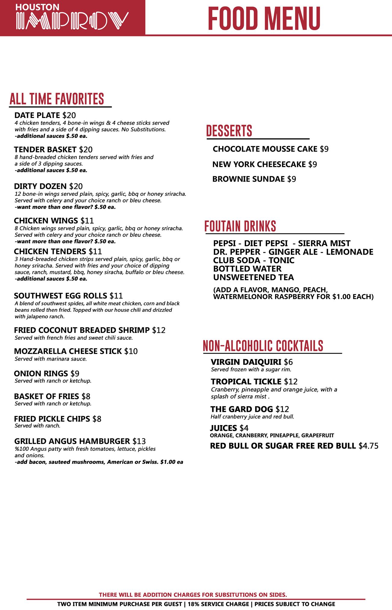 Houston Improv Food Menu